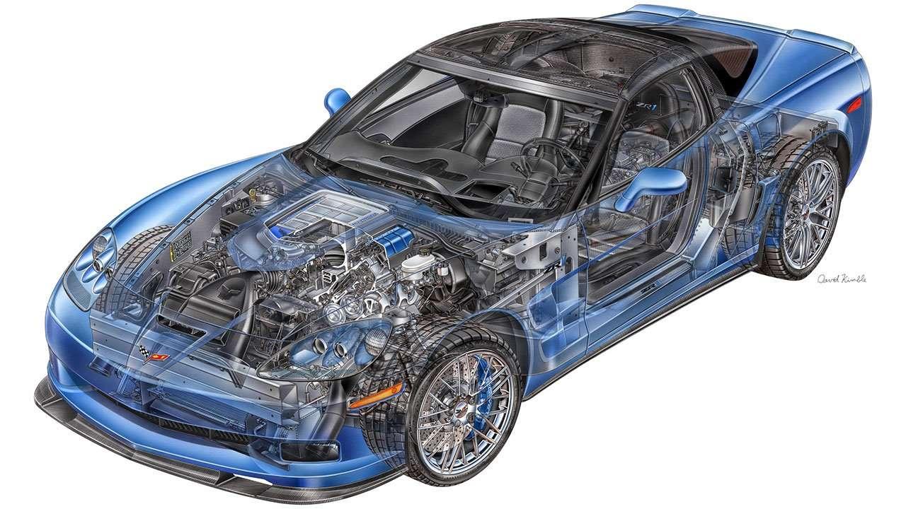 Шевроле Corvette C6 в разрезе