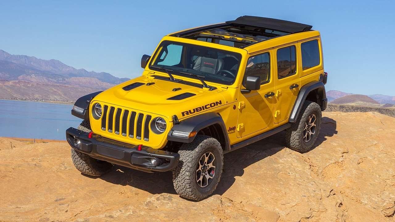 Желтый Jeep Wrangler 2020-2021 спереди