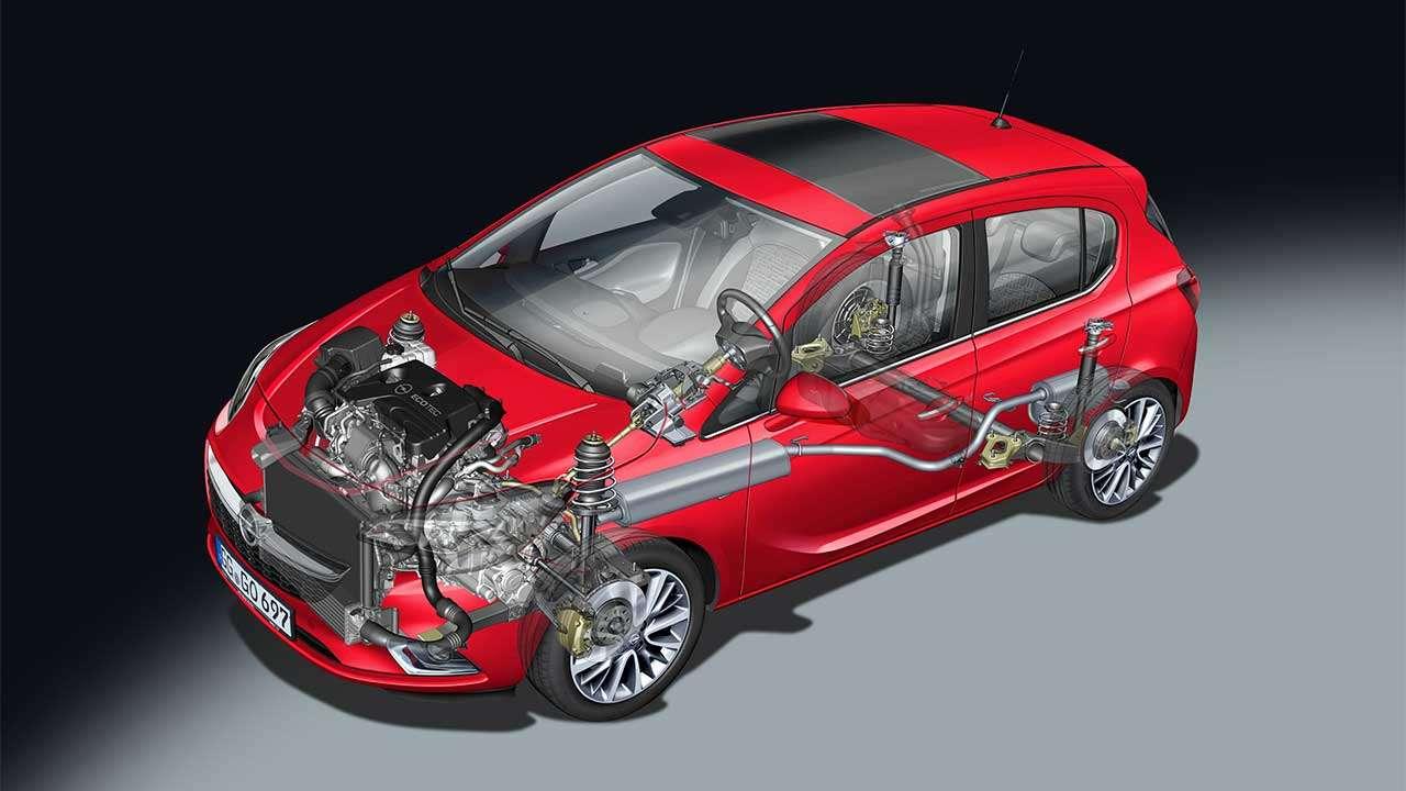 Opel Корса Е 2014-2019 в разрезе