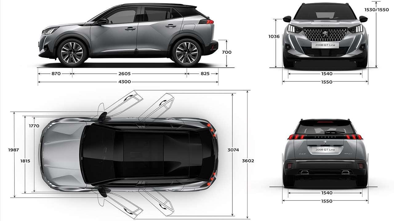 Размеры Peugeot 2008 2020-2021